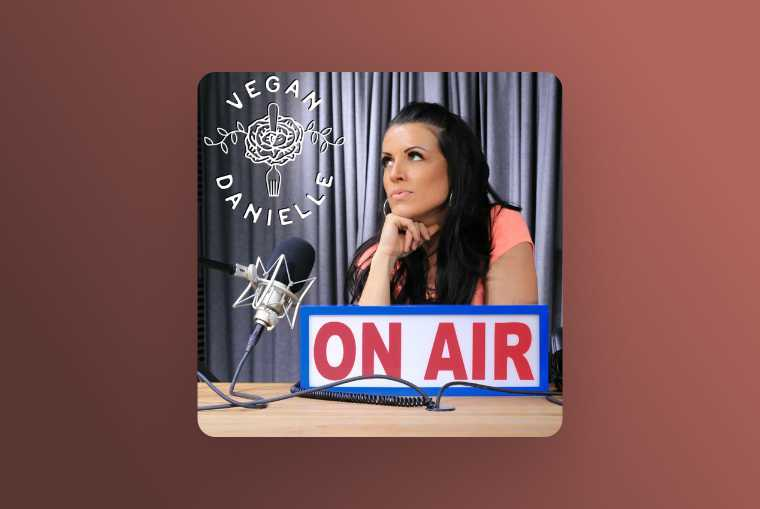 vegan danielle on air image on red background