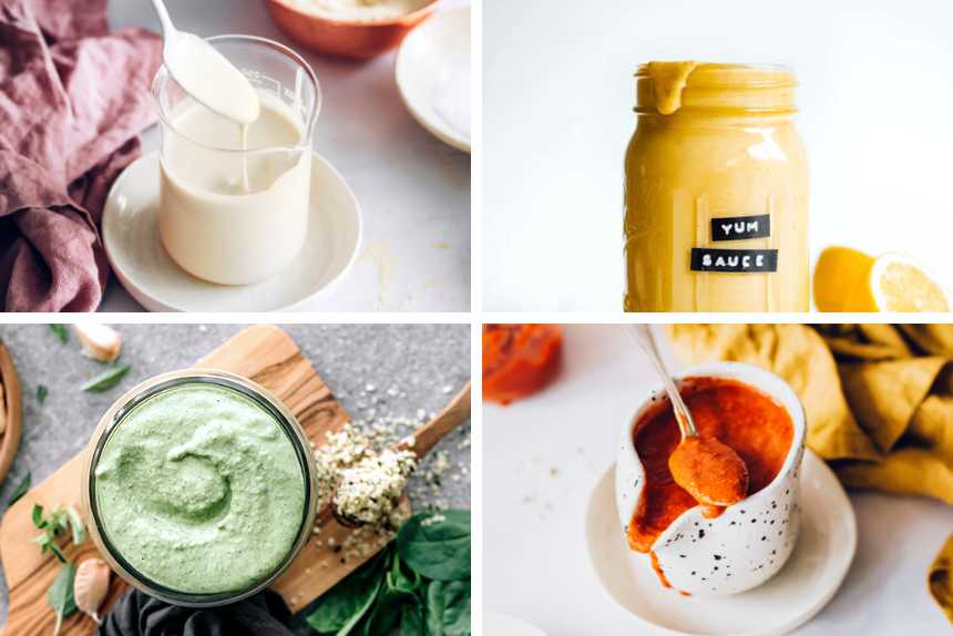 collage of four homemade oil-free vegan dressings like sour cream, basil pesto and two different sauces