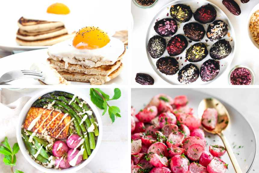 collage of four vegan easter recipes like pancakes, chocolate date eggs, roasted radishes and a spring salad