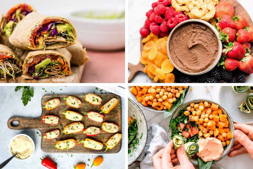 collage of hummus stuffed mini peppers, vegan hummus wraps, chocolate dessert hummus and buddha bowl