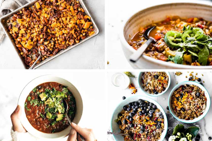 collage of roasted nuts, vegan chili, veggie stew and breakfast granola bowls