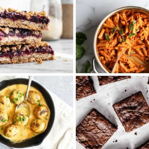 collage of four vegan low fodmap recipes from brownies and breakfast bars to pasta and meatballs