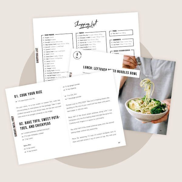 Mockup of different pages of the week of bowls meal prep eBook
