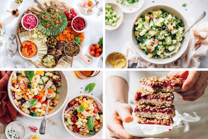 collage of 4 Vegan Picnic Potluck Ideas from potato salad to pasta salad, snack board and oat bars