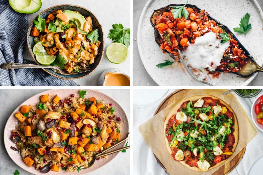 collage of 4 different vegan recipes featuring quinoa from salads to bowls, stuffed eggplant and pizza