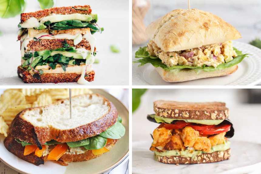 collage of four vegan sandwich recipes from grilled cheese to buffalo cauliflower, vegan chicken salad and hummus veggie sandwich