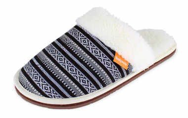 one cozy predominantly white vegan slipper with a dark blue Christmas pattern