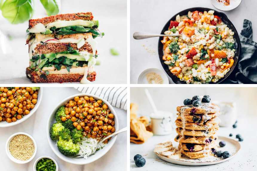 collage of four different vegan recipes for veganuary from avocado sandwich to veggie pasta, easy pancakes and a buddha bowl