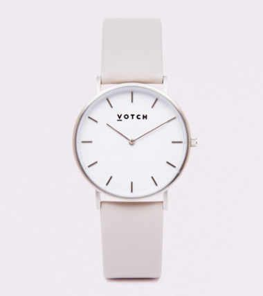 light and modern minimalist watch with a beige wristband from the company votch