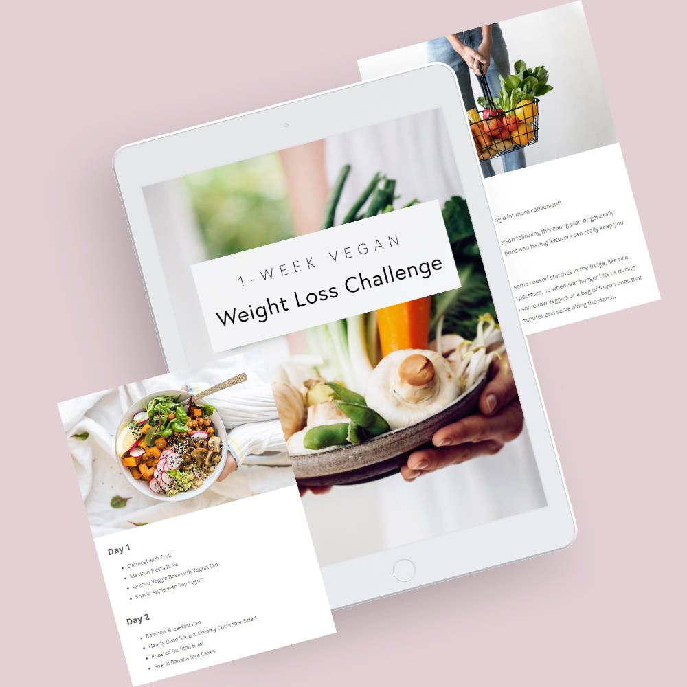iPad showcasing Nutriciously's Vegan Weight Loss Challenge