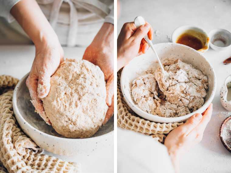 mixing and kneading dough to make whole wheat vegan hamburger buns