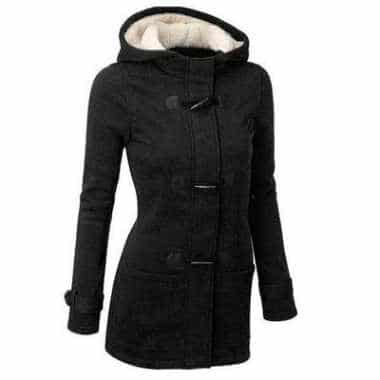 elegant black classy cotton coat for women that's fully vegan